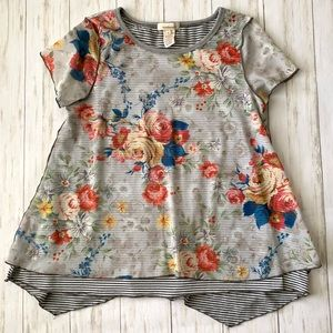 Sundance Floral Striped Layered Sheer Swing Top S
